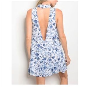 Off white and blue low back floral dress